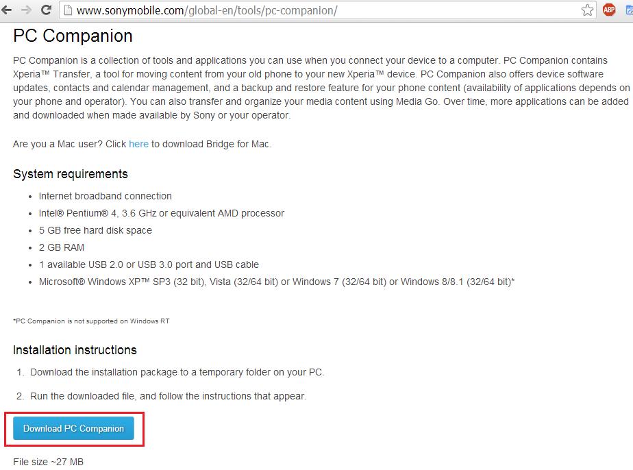 sony pc companion for windows 7 32bit
