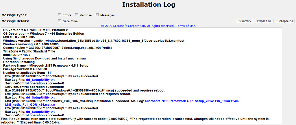 .Net Framework 4.5.1 on Windows 7 RTM Log