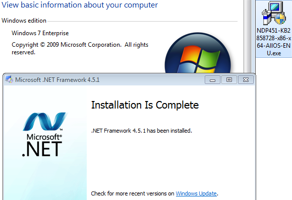 .Net Framework 4.5.1 on Windows 7 RTM