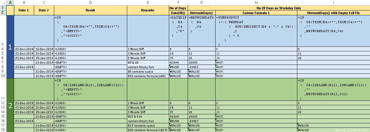 YLNotes_Excel_CalculateDaysOnWeekdayOnly_0001